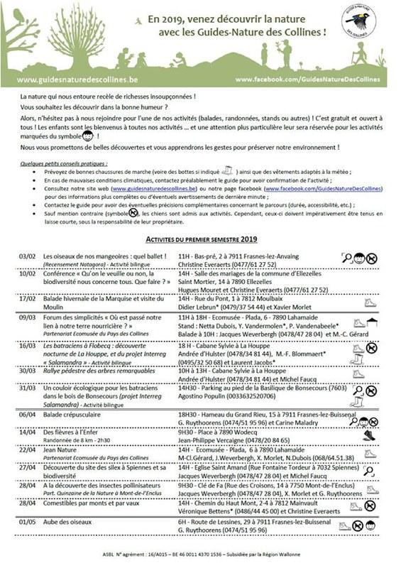 foto de L'agenda 2019 des Guides-Nature des Collines — Frasnes-lez-Anvaing
